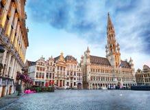 Bryssel - storslaget ställe på natten, inget, Belgien royaltyfria bilder