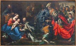 Bryssel - tillbedjan av de tre vise männen av målaren Theodor van Loon från 17 cent i den St Nicholas kyrkan Royaltyfri Fotografi