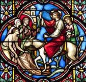 Bryssel - tillträde av Jesus i Jerusalem - domkyrka Royaltyfri Bild