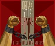 Bryt dina kedjor - kampen för dina rätter stock illustrationer