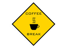 bryt kaffeteckenvarning Arkivbild