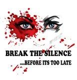 Bryt tystnaden för våld mot kvinnor vektor illustrationer