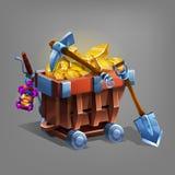 Bryta begreppsbacground Min spårvagn med guld- malm, skyffeln och spetshackan Arkivfoton