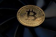Bryta Bitcoins genom att använda grafiska kort arkivbild