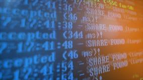 Bryta Cryptocurrency processprogram på skärmPC Använda programvara Funnen aktie Arkivbild
