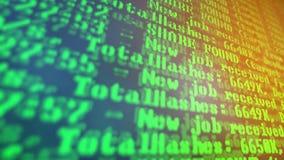 Bryta Cryptocurrency processprogram på skärmPC Använda programvara Funnen aktie Arkivbilder