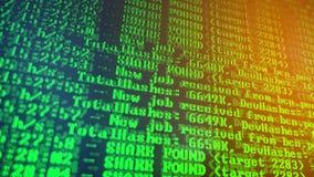 Bryta Cryptocurrency processprogram på skärmPC Använda programvara Funnen aktie Royaltyfria Foton