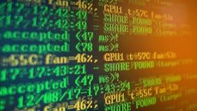 Bryta Cryptocurrency processprogram på skärmPC Använda programvara Funnen aktie Fotografering för Bildbyråer
