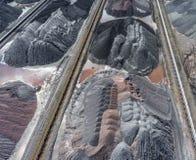 Bryta grävskopan på minen för nedersta yttersida Insättningar för brunt kol royaltyfri foto