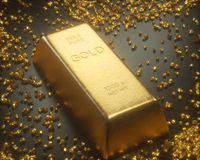Bryta guld- klumpar Royaltyfri Bild