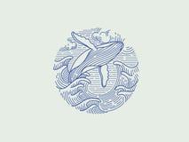Bryta igenom logo för puckelryggval Arkivbilder