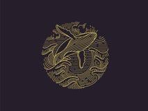 Bryta igenom logo för puckelryggval Arkivbild