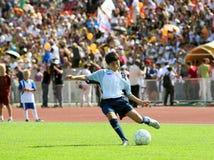 bryter laget för fotbollstraffspelare Arkivfoto
