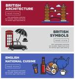 Brytyjska architektura i obywatel kuchnia na strona internetowa szablonach Zdjęcie Stock