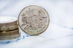 Brytyjska funtowa moneta z plamy tłem Zdjęcia Stock
