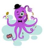 Brytyjska purpurowa ośmiornica pije herbaty zdjęcia royalty free