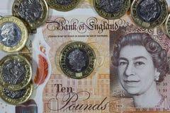 Brytyjska waluta - Nowy polimer Dziesięć funtów notatka Fotografia Stock