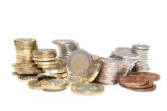 Brytyjska waluta w stosach obraz stock