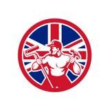 Brytyjska złotej rączki Union Jack flaga ikona Obraz Stock