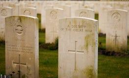 Brytyjski Cmentarniany Flanders odpowiada wielką wojnę światowa obraz stock