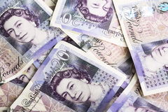 Brytyjski Dwadzieścia Funtowe notatki Fotografia Royalty Free
