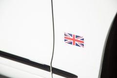 Brytyjski flaga na biały sportscar Obrazy Royalty Free