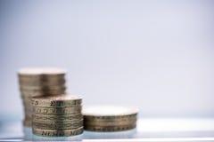 Brytyjski Funtowych monet stos Obrazy Royalty Free