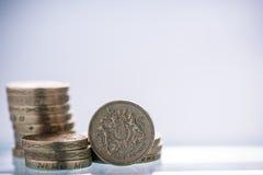 Brytyjski Funtowych monet stos Fotografia Stock