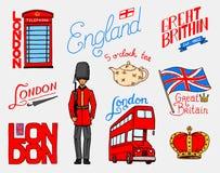 Brytyjski, korona, królowa, teapot z herbatą, strażnik, Londyn i dżentelmeny, autobusowy i królewski, symbole, odznaki lub znaczk ilustracja wektor