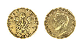 Brytyjski królewiątko George VI 1945 Threepence monet Obrazy Stock