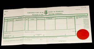 Brytyjski małżeństwa świadectwo fotografia royalty free