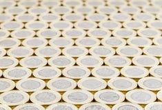 Brytyjski pieniądze, nowe funtowe monety, staranny tło Obraz Royalty Free