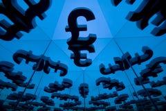 Brytyjski waluta symbol Z Wiele Odzwierciedla wizerunkami fotografia stock