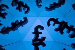 Brytyjski waluta symbol Z Wiele Odzwierciedla wizerunkami Ja zdjęcie stock