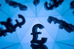 Brytyjski waluta symbol Z Wiele Odzwierciedla wizerunkami Ja fotografia royalty free