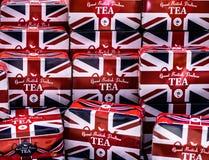 Brytyjski zaznaczał herbacianych pudełka Obraz Stock