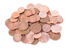 brytyjskie tło monety wypiętrzają biel Zdjęcia Stock
