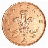 2 brytyjskiego centu moneta Obrazy Royalty Free