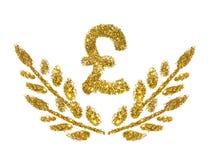 Brytyjskiego funta gałązki z liśćmi złota błyskotliwość i znak błyskamy na białym tle Pojęcie dobrobyt Obrazy Royalty Free