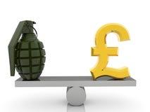Brytyjskiego funta granat na seesaw i znak Zdjęcia Stock