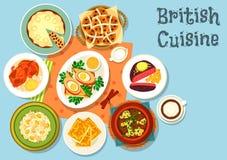 Brytyjskiej kuchni główni naczynia z przekąski jedzenia ikoną ilustracji