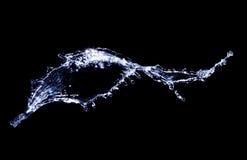 Bryzga woda na czarnym use dla wodnego chełbotanie skutka Obrazy Stock