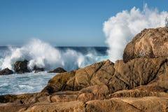 Bryzgający fala przeciw skałom przy stanu parkiem Wskazuje Lobos obrazy stock