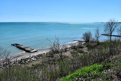 Brzeg jezioro michigan od Racine Wisconsin zdjęcie royalty free