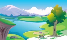 Brzeg rzeki krajobrazowy widok Obrazy Royalty Free
