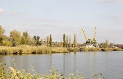 Brzeg rzeki, rzeka krajobraz Zdjęcie Stock