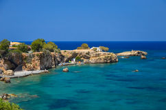 Brzeg spotyka błękitnego morze Obraz Royalty Free