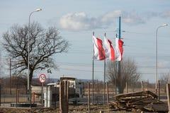 Brzegi - das Dorf findet Masse während WYD 2016 mit der Teilnahme des Papstes und der Pilger statt Stockbild