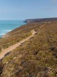 Brzegowa ścieżka blisko Porthtowan Agnes Cornwall Anglia i St Fotografia Royalty Free