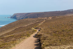 Brzegowa ścieżka blisko Porthtowan Agnes Cornwall Anglia i St Zdjęcie Royalty Free